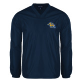 V Neck Navy Raglan Windshirt-Warner Royals w/ Lion