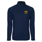 Sport Wick Stretch Navy 1/2 Zip Pullover-Lion Head Shield