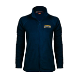 Ladies Fleece Full Zip Navy Jacket-Arched Warner University Royals