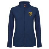 Ladies Fleece Full Zip Navy Jacket-Lion Head Shield