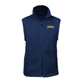 Fleece Full Zip Navy Vest-Arched Warner University Royals