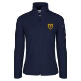 Columbia Ladies Full Zip Navy Fleece Jacket-Lion Head Shield