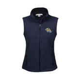 Ladies Fleece Full Zip Navy Vest-Warner Royals w/ Lion