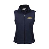 Ladies Fleece Full Zip Navy Vest-Arched Warner University Royals
