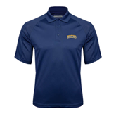 Navy Textured Saddle Shoulder Polo-Arched Warner University Royals