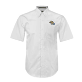 White Twill Button Down Short Sleeve-Warner Royals w/ Lion