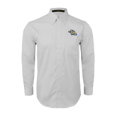 White Twill Button Down Long Sleeve-Warner Royals w/ Lion