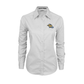 Ladies White Twill Button Down Long Sleeve-Warner Royals w/ Lion