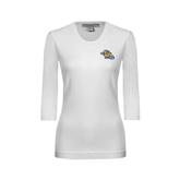 Ladies White 3/4 Sleeve Scoop Neck-Warner Royals w/ Lion