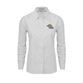 Ladies White Oxford Shirt-Warner Royals w/ Lion