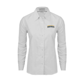 Ladies White Oxford Shirt-Arched Warner University Royals