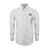 Mens White Oxford Long Sleeve Shirt-Warner Royals w/ Lion