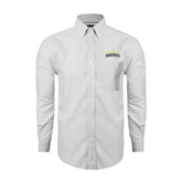 Mens White Oxford Long Sleeve Shirt-Arched Warner University Royals