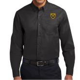 Black Twill Button Down Long Sleeve-Lion Head Shield