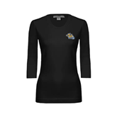 Ladies Black 3/4 Sleeve Scoop Neck-Warner Royals w/ Lion