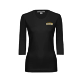 Ladies Black 3/4 Sleeve Scoop Neck-Arched Warner University Royals