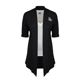 Ladies Black Drape Front Cardigan-Warner Royals w/ Lion