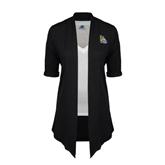 Ladies Black Drape Front Cardigan-Warner Royals w/ Lion