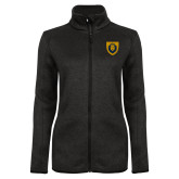 Black Heather Ladies Fleece Jacket-Lion Head Shield