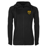Ladies Sport Wick Stretch Full Zip Black Jacket-Lion Head Shield