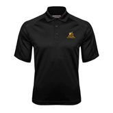 Black Textured Saddle Shoulder Polo-Official Logo