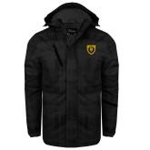 Black Brushstroke Print Insulated Jacket-Lion Head Shield