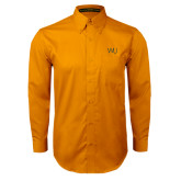 Gold Twill Button Down Long Sleeve-WU Cattle Brand
