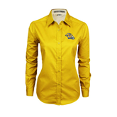 Ladies Gold Twill Button Down Long Sleeve-Warner Royals w/ Lion