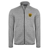 Grey Heather Fleece Jacket-Lion Head Shield