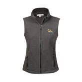 Ladies Fleece Full Zip Charcoal Vest-Warner Royals w/ Lion