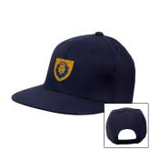 Navy Flat Bill Snapback Hat-Lion Head Shield
