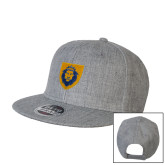 Heather Grey Wool Blend Flat Bill Snapback Hat-Lion Head Shield