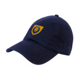 Navy Twill Unstructured Low Profile Hat-Lion Head Shield