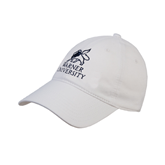 White Twill Unstructured Low Profile Hat-Official Logo
