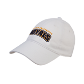 White Twill Unstructured Low Profile Hat-Arched Warner University Royals