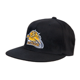 Black OttoFlex Flat Bill Pro Style Hat-Warner Royals w/ Lion