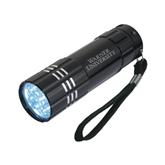 Industrial Triple LED Black Flashlight-Warner University Stacked Engraved