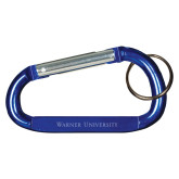 Blue Carabiner with Split Ring-Warner University Flat Wordmark Engraved