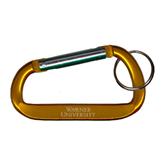 Orange Carabiner with Split Ring-Warner University Stacked Engraved