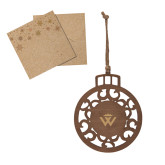 Wood Holiday Ball Ornament-W Crown Engraved