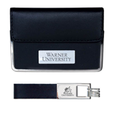 Business Card Case and Key Ring Set Black-Warner University Stacked Engraved