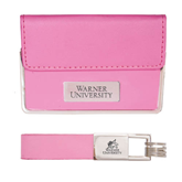 Business Card Case and Key Ring Set Pink-Warner University Stacked Engraved