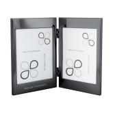 Black Nickel Double Photo Frame-Warner University Flat Wordmark Engraved