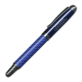 Carbon Fiber Blue Rollerball Pen-Warner University Stacked Engraved