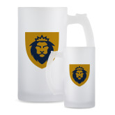 Full Color Decorative Frosted Glass Mug 16oz-Lion Head Shield