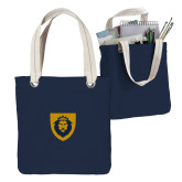 Allie Navy Canvas Tote-Lion Head Shield