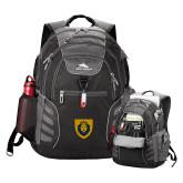 High Sierra Big Wig Black Compu Backpack-Lion Head Shield