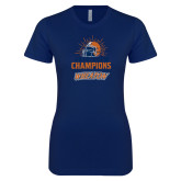 Next Level Ladies SoftStyle Junior Fitted Navy Tee-2019 CCIW Football Champions