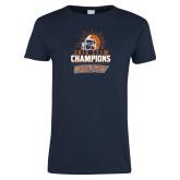 Ladies Navy T Shirt-2019 CCIW Football Champions
