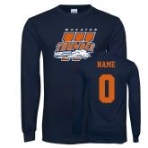 Navy Long Sleeve T Shirt-Primary Athletics Mark, Custom tee w/ name and #